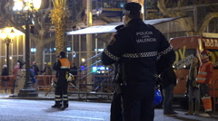 Police crew in Valencia at Fallas celebration 4k - stock footage