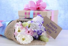 Mothers Day Flowers and Gift - stock photo