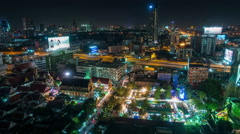 night bangkok street city fairy roof top view 4k time lapse thailand - stock footage