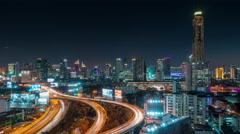 bangkok night light traffic road junction panorama 4k time lapse thailand - stock footage