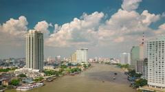 Sunny cloudy sky main bangkok river traffic panorama 4k time lapse thailand Stock Footage
