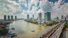 Sky clouds roof top bangkok river traffic panorama 4k time lapse thailand Stock Footage