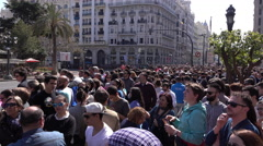 Crowds of people waiting for Fallas la Mascleta display 4k Stock Footage