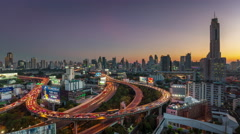 Night bangkok traffic street road junction panorama 4k time lapse thailand Stock Footage