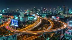 Night bangkok traffic circle junction road roof panorama 4k time lapse thailand Stock Footage