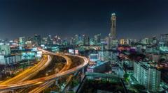 night light bangkok traffic street road panorama 4k time lapse thailand - stock footage