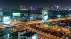 Bangkok city night traffic street road roof panorama 4k time lapse thailand Stock Footage