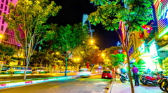 Busy streets of Ho Chi Minh City at night Stock Footage