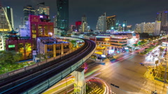 night illumination bangkok traffic crossroad panorama 4k time lapse thailand - stock footage