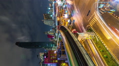 bangkok night light traffic street vertical panorama 4k time lapse thailand - stock footage