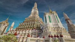 Gorgeous bangkok sunny day wat arun temple 4k time lapse thailand Stock Footage