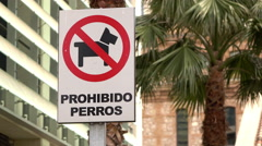 Dogs prohibited sign in Spain 4k Stock Footage
