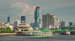 Summer day bangkok main river city panorama 4k time lapse thailand Stock Footage