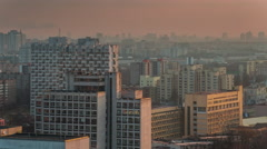 Morning sunrise light city center roof top panorama 4k time lapse belarus Stock Footage