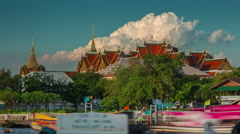 Bangkok most famous grand palace temple river 4k time lapse thailand Stock Footage