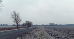 Pan shot of cold rustic fields in Eastern Europe Stock Footage