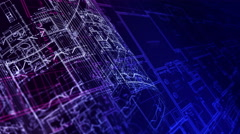 Architecture Blueprints. Loop. Stock Footage