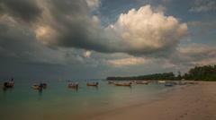 Nai yang beach sunset boat park phuket panorama 4k time lapse thailand Stock Footage