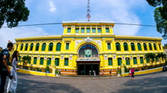 Horizontal panning view of the historic post office in Ho Chi Minh City Stock Footage