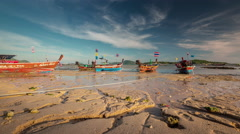 phuket sunset low tide rawai beach boat park 4k time lapse thailand - stock footage