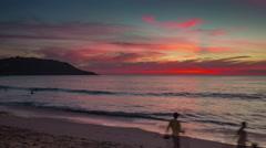 Phuket island kata beach sunset panorama 4k time lapse thailand Stock Footage