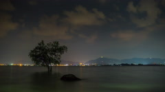 Night illumination phuket town buddha beach panorama 4k tima lapse thailand Stock Footage