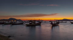 Famous phuket tourist boat parking sunrise panorama 4k time lapse thailand Stock Footage