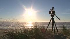 Video Camera Recording Ocean Sunset Stock Footage