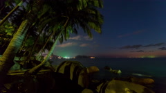 Phuket sunset twilight palm patong beach panorama 4k time lapse thailand Stock Footage