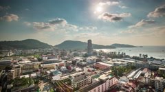Summer day patong beach city roof top panorama 4k time lapse thailand Stock Footage