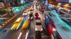 bangkok night city traffic street bridge panorama 4k time lapse thailand - stock footage