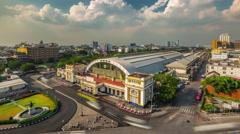 Bangkok sunset light city railway station panorama 4k time lapse thailand Stock Footage