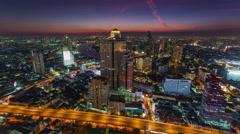 Sunset night light bangkok hotel roof top panorama 4k time lapse thailand Stock Footage