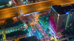 night illumination bangkok traffic crossroad 4k time lapse thailand - stock footage