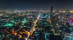 Night light bangkok roof top traffic street panorama 4k time lapse thailand Stock Footage