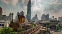 Sunny day bangkok center metro line panorama 4k time lapse thailand Stock Footage
