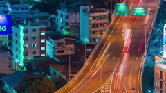 bangkok night traffic bridge road panorama 4k time lapse thailand - stock footage