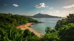 Summer phuket island famous laem sing beach 4k time lapse thailand Stock Footage