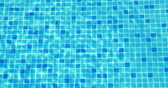 Small Blue Tiles on the Swimming Pool Floor Stock Footage