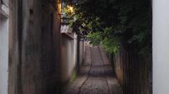 Pretty back alley in european street. Stock Footage