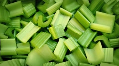 Fresh Cut Celery Pieces Rotating Stock Footage