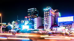 Zoom out view of the busy nightlife in Ho Chi Minh City - stock footage
