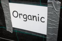 Laminated Organic Sign in Comic Sans Taped to Dark Background - stock photo