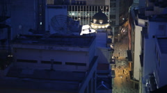 City view from above. Bird's eye view of people walking and living Stock Footage