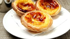 Portuguese Custard Tarts with Coffee Stock Footage