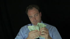 Greedy Business Man Counting Money Stock Footage