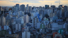 City metropolis landscape. Large south american city during sunset Stock Footage