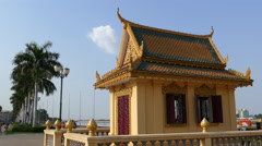 Dorngkeur Shrine at the riverside in Phnom Penh Cambodia Stock Footage