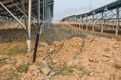 The underground electrical cable in the solar farm plant Stock Photos