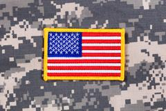 USA Flag patch with battle dress uniform Stock Photos